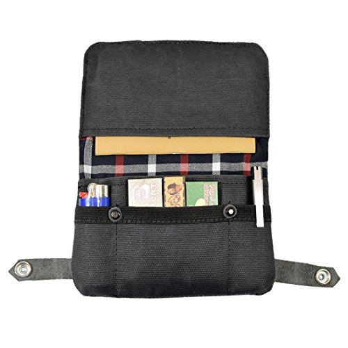 Waxed Canvas Tobacco Pouch, Smoking, Filters, Herbs, Field Notes, Journal, Passport, Cable Storage, Rolling Cigarette, USB, Miscellaneous & Travel Handmade by Hide & Drink :: Charcoal Black