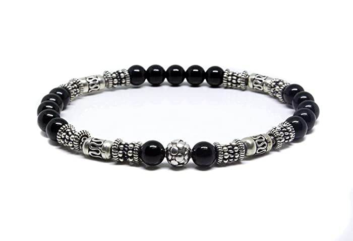 Amazon Com Black Onyx And Sterling Silver Bracelet Bali Beads
