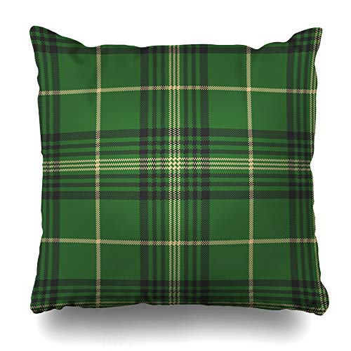 ArtsDecor Throw Pillow Covers Cases Checkered Black Green Check Plaid Tartan Abstract Gingham Britain British Celtic Clan Design Home Decor Cushion Square Size 18