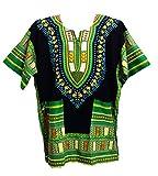 Vipada's Dashiki Shirt African Top Men's Dashiki Black and Green 5XL