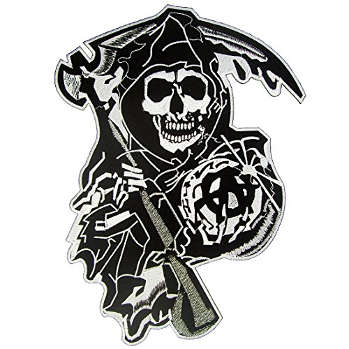 [SOA Reaper Logo Large Embroidered Biker Back Patches] (Top Gun Costume Patches)