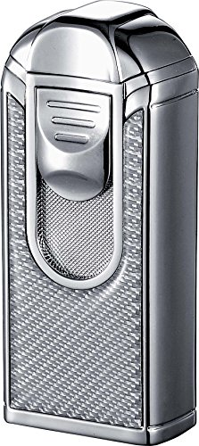 (Visol ALEC III Chrome and White Carbon Fiber Triple Torch Flame Lighter)
