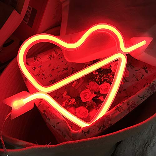 QiaoFei Neon Light,LED Cupid's Bow Sign Shaped Decor Light,Heart Night Lamps Love Marquee Letter Sign Gifts for Christmas,Birthday Party,Kids Room,Living Room,Wedding Party(Red)