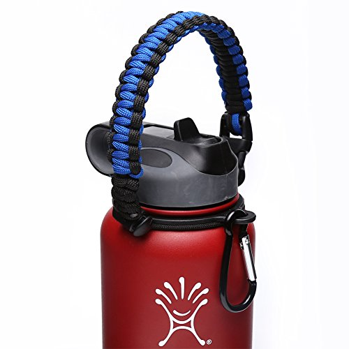 Hydro Flask Handle - Paracord Survival Strap with Security Ring for Wide Mouth Water Bottles Carrier (Blue/Black)