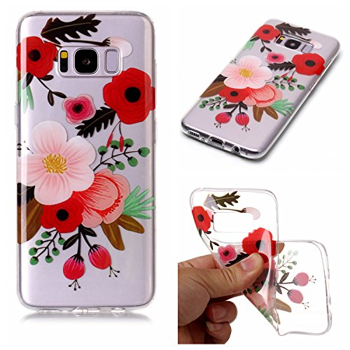 Galaxy S8 Case,Samsung Galaxy S8 Case Shockproof Rubber,Gostyle Flexible Transparent Soft TPU Slicone Red White Flower Pattern Scratch Resistant Ultra Slim Fit Back Cover
