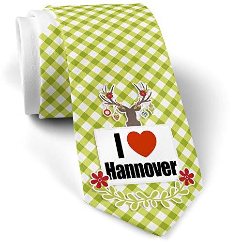 - Green Plaid Christmas Neck Tie I Love Hannover region: Niedersachsen, Germany gift for men