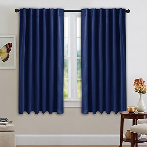 NICETOWN Window Treatment Blackout Curtains and Draperies - (Navy Blue Color) 52x45 Inch, 2 Panels, Room Darkening Window Shades for (Blue Pleated Drapes)