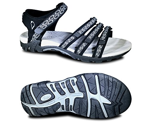 Viakix Womens Sport Sandals - Comfortable Athletic Walking Shoes for Outdoors, Water, Hiking, Beach Sandal,Black,41 M EU / 11 B(M) US