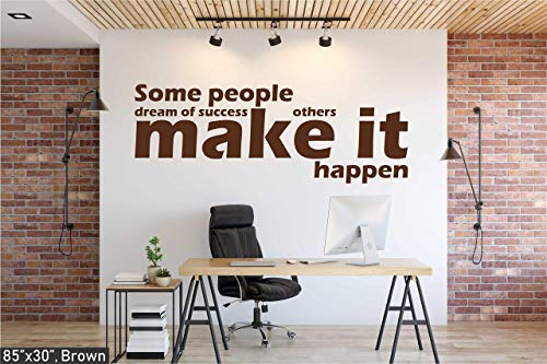 (Wallency Inspirational and Motivational Life Quote Wall Decal - Make it Happen Removable Sticker)