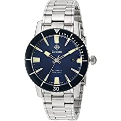 Zodiac Men's 'Super Sea Wolf 53 Comp' Swiss Automatic Stainless Steel Casual Watch, Color:Silver-Toned (Model: ZO9258)