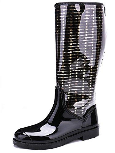 TONGPU Rain Transparent Removable Rain Women's Lining Fashion Footwear Boots Black gw71Bvqg