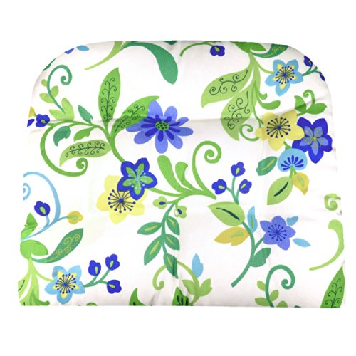 Large Patio Chair Cushion - Tessie Blue White Contemporary Garden Floral - Indoor Outdoor: Mildew Resistant, Fade Resistant - Reversible (Royal Plantation Outdoor Furniture)
