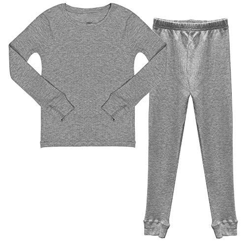 Popular Boy's Cotton Waffle Thermal Underwear Set - Heather Grey - M (8/10)