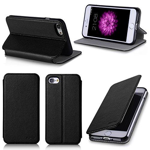 Apple iPhone 7 4.7 zoll Hülle Ultra Slim Tasche Leder Schwarz Cover mit Stand - Zubehör Etui smartphone iPhone 7 Flip Case Schutzhülle (Handy tasche folio PU Leder, Black) - XEPTIO accessoires