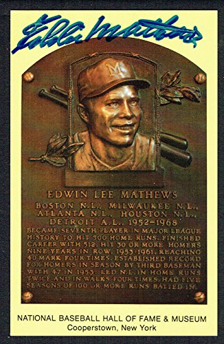 Eddie Mathews signed autograph Baseball Hall of Fame Gold Plaque Postcard