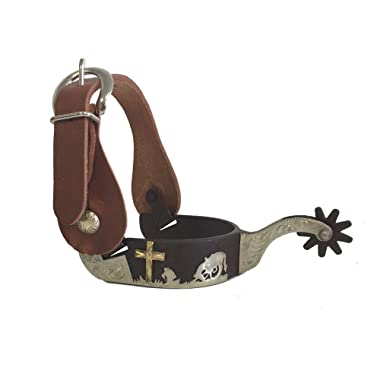 AJ Tack Wholesale Praying Cowboy Cross Western Show Spurs Harness Leather Straps Package