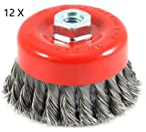 Twisted Wire Cup Brush, Knotted with 5/8-Inch-11 Threaded Arbor, 3-Inch-by-.020-Inch (12PC)