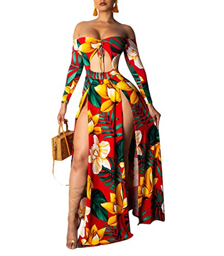 Women Sexy Maxi Dress Off Shoulder Cut Out Bandage Top Floral Slit Summer Party Long Swing Dresses Clubwear Yellow M