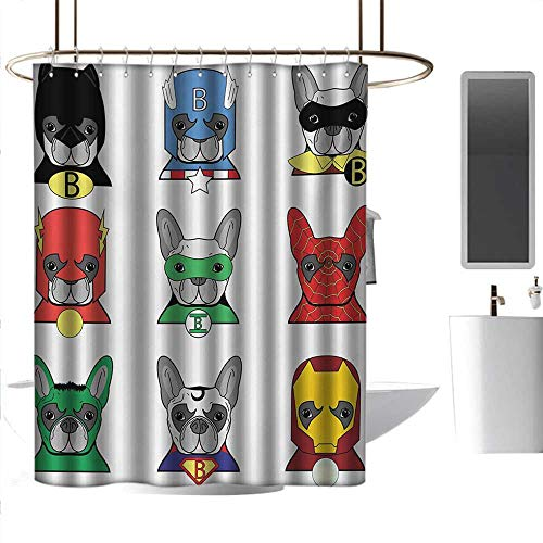 homehot Shower Curtains Blue and Green Superhero,Bulldog Superheroes Fun Cartoon Puppies in Disguise Costume Dogs with Masks Print,Multicolor,W72 x L72,Shower Curtain for -