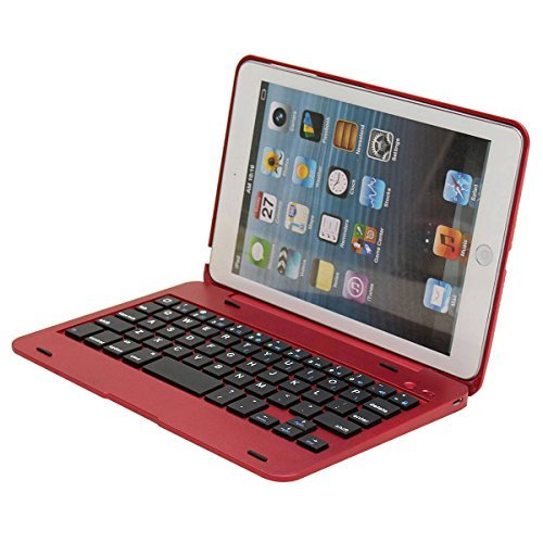 [해외]SODIAL (R) For Apple iPad Mini 1 2 3 접이식 충전식 Bluetooth 키보드 케이스 커버 레드/SODIAL(R) For Apple iPad Mini 1 2 3 Foldable Rechargeable Bluetooth Keyboard Case Cover Red