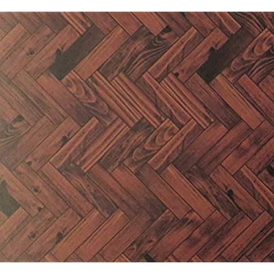 Melody Jane Dollhouse Parquet Floor Sheet Gloss Card Dark Oak Miniature 1:12 Flooring: Toys & Games