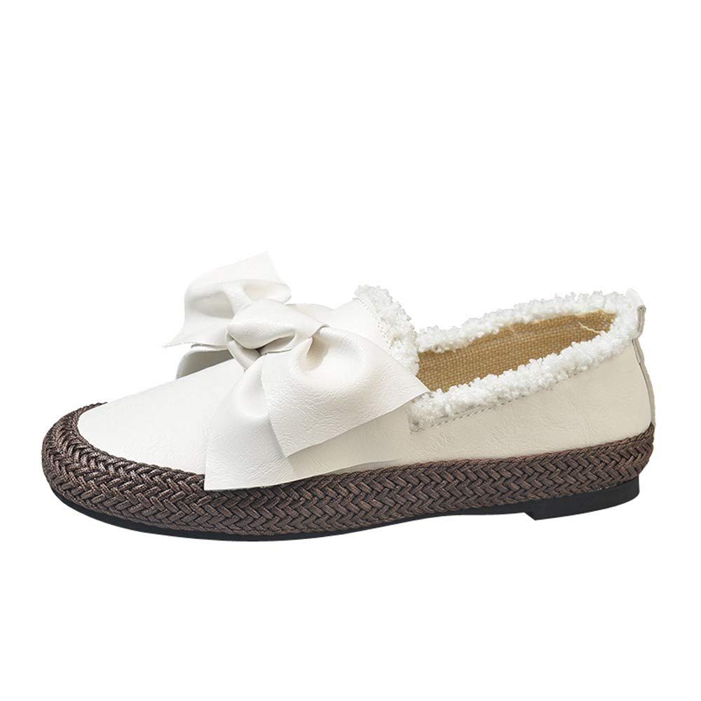 Shoes For Women, Clearance Sale !! Farjing Flats Round Toe Slip-on Butterfly-Knot Casual Comfortable Shoes(US:6.5,White )