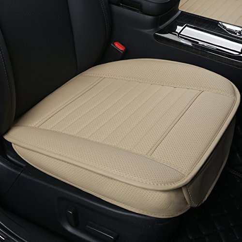 DINKANUR Deep 20 inch × Width 20 inch Car Seat Cushions - thick 0.35 inch, PU Leather Front Seat Protection Car Seats Cover - Edge Wrapping Bottom Car Seat Covers (Beige -Bottom (2 PCS))