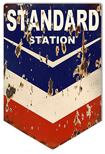 "Aged Looking Standard Chevron Motor Oil Sign 12""x18"""