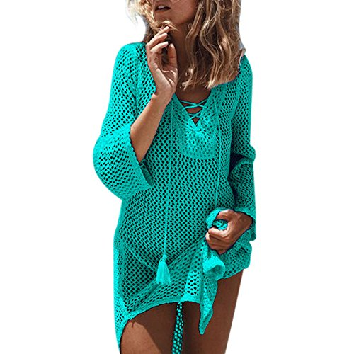 WOCACHI Swimsuits for Womens, Women Summer Hollow-Out Bikini Cover Up Beach Sunscreen Overall Mini Dress Trendy Tee Halter Backless Hollowout Long Sleeve Sleeveless Strap Strapless Bottoming ()
