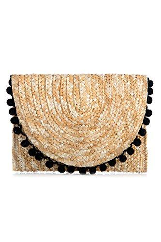 (Shiraleah Women's Reagan Pom Pom Clutch Natural/Black One)