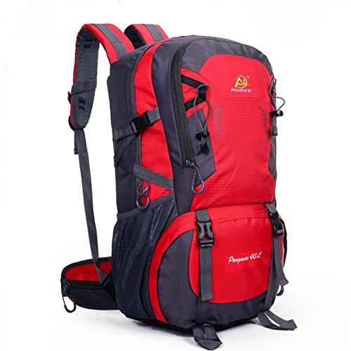Hombres y mujeres sección 40L mochila al aire libre impermeable saco de excursión , rose red Red