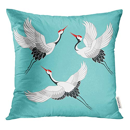Emvency Throw Pillow Covers Decorative Cases Blue Asian of Birds Crane Stork Heron Gray Flying Drawing Animal Asia Base China 20x20 Inch Cover Cushion Pillowcase Square Case Print