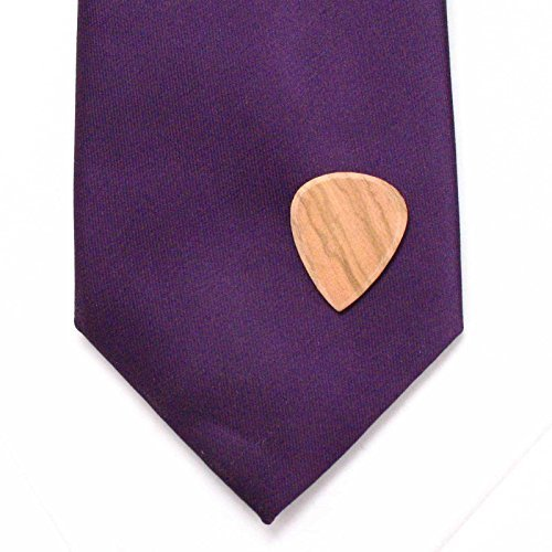 Olive Wood Guitar Pick Lapel Pin Tie Tack Music Rock Country Pop Musician Gift
