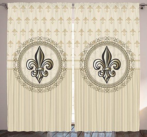 Paris Decor Curtains by Ambesonne, Fleur De Lis European Design, Silky Satin Window Treatments, Window Drapes 2 Panel Set for Living Room Bedroom, 108 X 90 Inches, Beige and Brown (Fleur De Lis Bedroom Set)