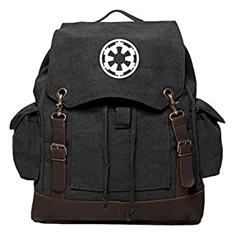 Star Wars Galactic Empire Vintage Canvas Rucksack with Leather Straps Black & Wh