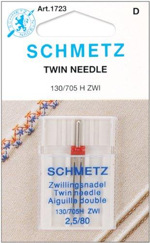 SCHMETZ Twin (130/705 H ZWI) Sewing Machine Needles - Carded - Size 2.5/80 1723C