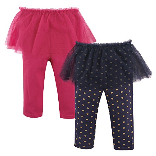 (Hudson Baby Baby Girls' Tutu Leggings, 2 Pack, Dark Pink/Navy Hearts, 12-18 Months (18M))