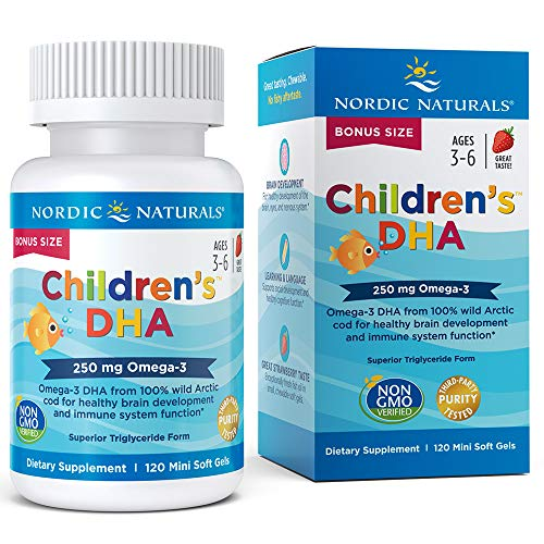 Nordic Naturals Children's DHA Strawberry - Children's Fish Oil Supplement for Healthy Cognitive Development and Immune Function*, Bonus Count 120 Soft Gels
