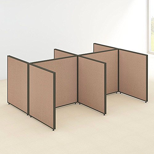 """Price comparison product image 42""""H Four Person Open Workstation Panel Set Dimensions: 101.89""""W x 73.89""""D x 42.99""""H Weight: 249 lbs Harvest Tan Fabric Panels / Brown Frame / Mocha Cherry"""