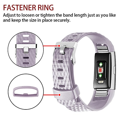 POY Replacement Bands Compatible for Fitbit Charge 2, Classic & Special Edition Sport Wristbands, Lavender Small, 1PC