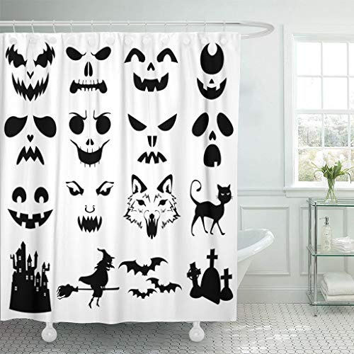 Emvency Fabric Shower Curtain Curtains with Hooks Face of Halloween Pumpkins Carved Silhouettes Stencil Cat Creepy Bats Black White Castle 72