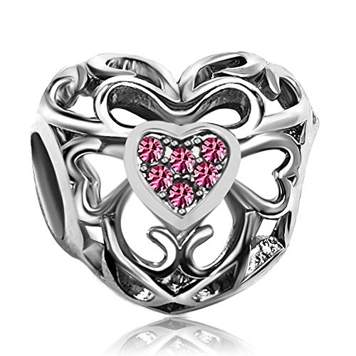JMQJewelry Heart Love Pink Birthstone October Charms Beads for Bracelets Mom Day