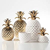 Tall Torre /& Tagus  Pineapple Gold Crown White Ceramic Canister