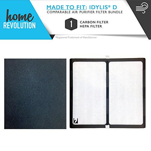 Idylis D HEPA + Carbon Comparable Air Purifier Filter, Fits Idylis Air Purifiers IAP-10-280; Model # IAF-H-100D Home Revolution Brand Quality Replacement (1)