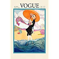 """1919 Vogue Fashion Lady Beach Ocean Umbrella Cover Poster Magazine 12"""" X 16"""" Image Size Vintage Poster Reproduction we have other"""