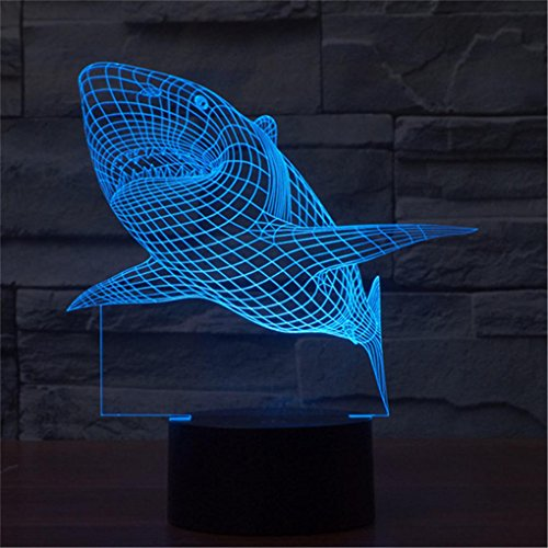 Shark Creative Creature 3D Acrylic Visual Home Touch Table Lamp Colorful Art Decor USB LED Children's Desk Night Light 3D-TD08 by AUCD (Image #8)