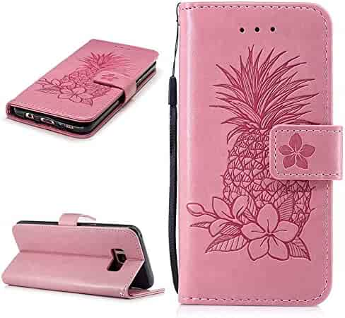 f9d6e44ee Pink Pineapple Wallet Case for Samsung Galaxy S8 Plus Wrist Strap Leather  Embossed Pineapple Flower Flip