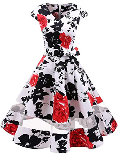 Corte Polka Red Vestito Retrò 1950 Da Rockabilly Maniche Swing Audery Annata Flower Gardenwed Partito Cocktail Abito White Con wnpaIq6F