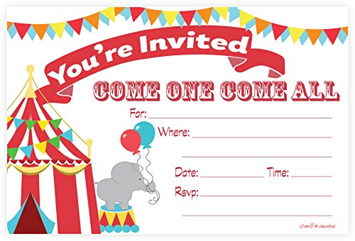 Carnival Circus Invitations - Birthday Party or Baby