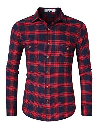 MrWonder Men's Casual Slim Fit Long Sleeve Button Down Shits Plaid Twill Shirt (2XL, Red) ()